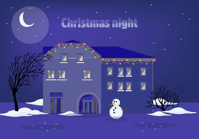 Free Christmas Night Vector Illustration