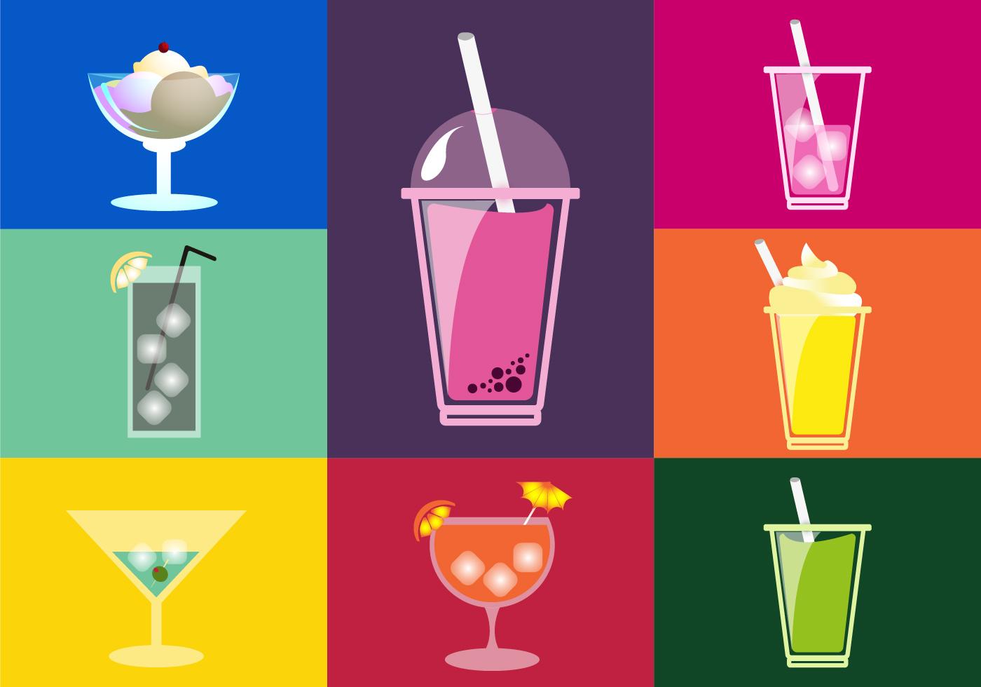 drinks illustrations flat icons