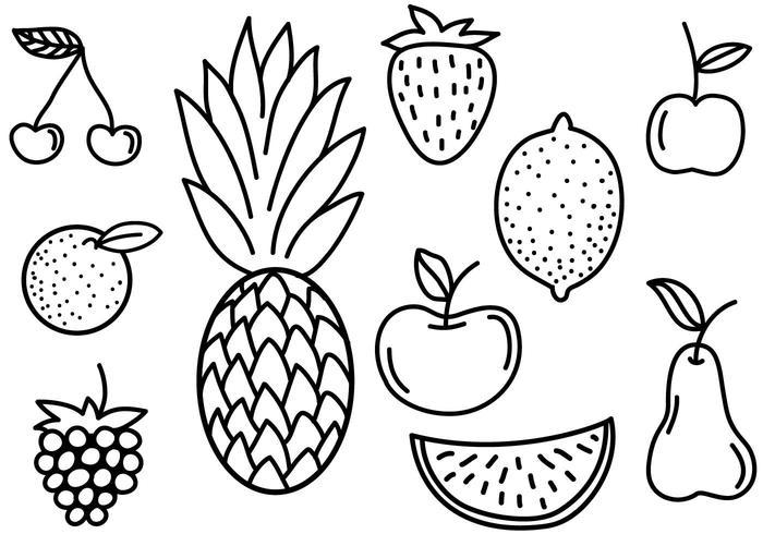 Gratis Fruit Doodles Vectoren