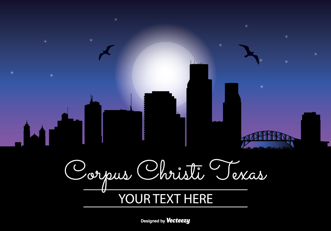 corpus christi night skyline illustration