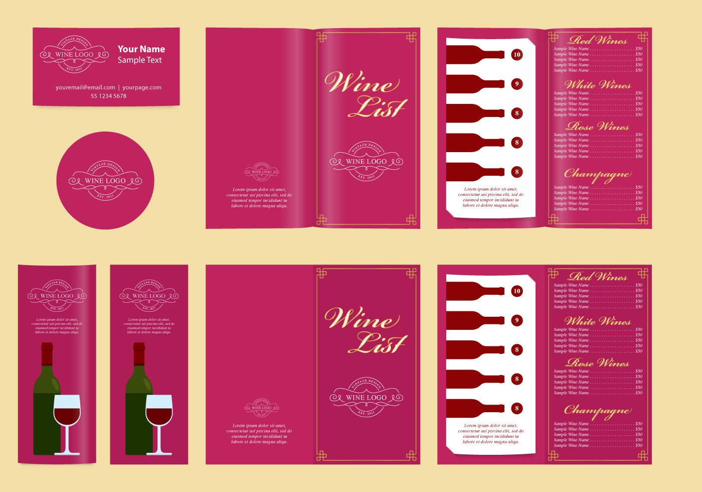 classic templates and wine list