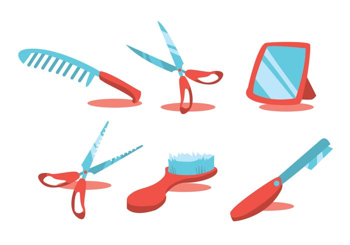 Friseur Werkzeuge Vektor Set