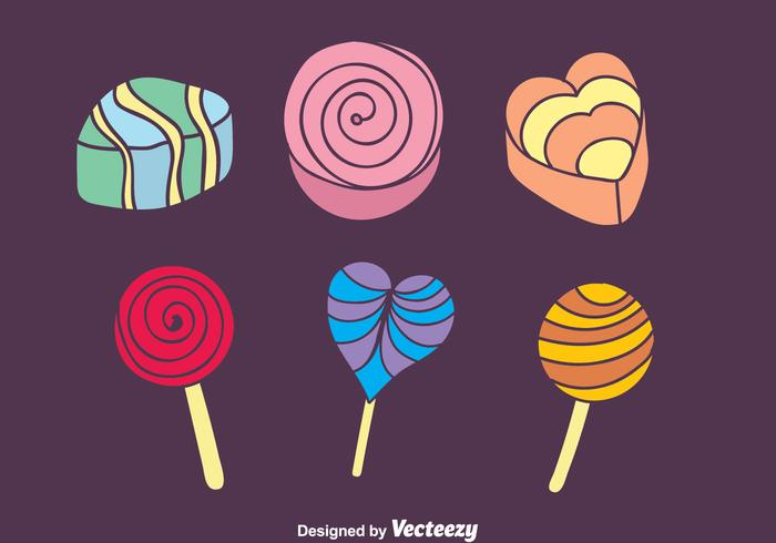 Colorful Candy And Cake Icons