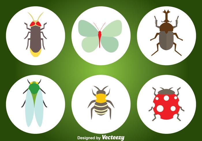Icônes plates d'insectes