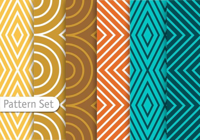 Colorful Line Geometric Pattern Set vector