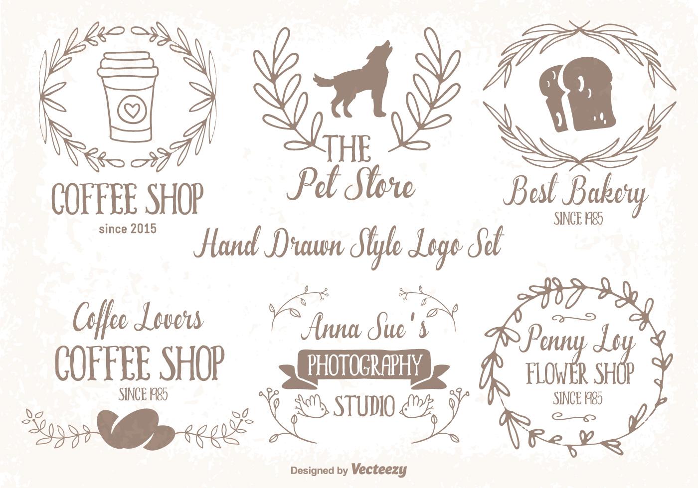 Cute Hand Drawn Style Logo Set Download Free Vector Art
