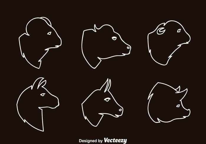 Mammals Head Outline Icons