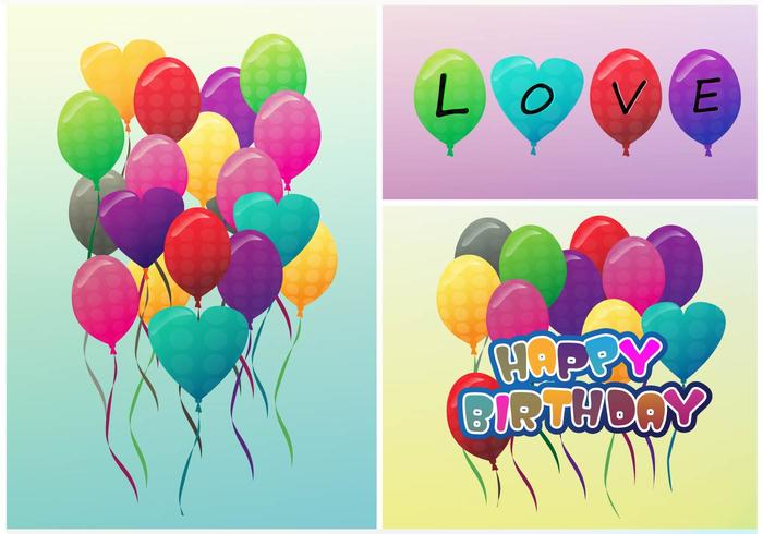 Birthday Balloon and Love Balloons Vectors