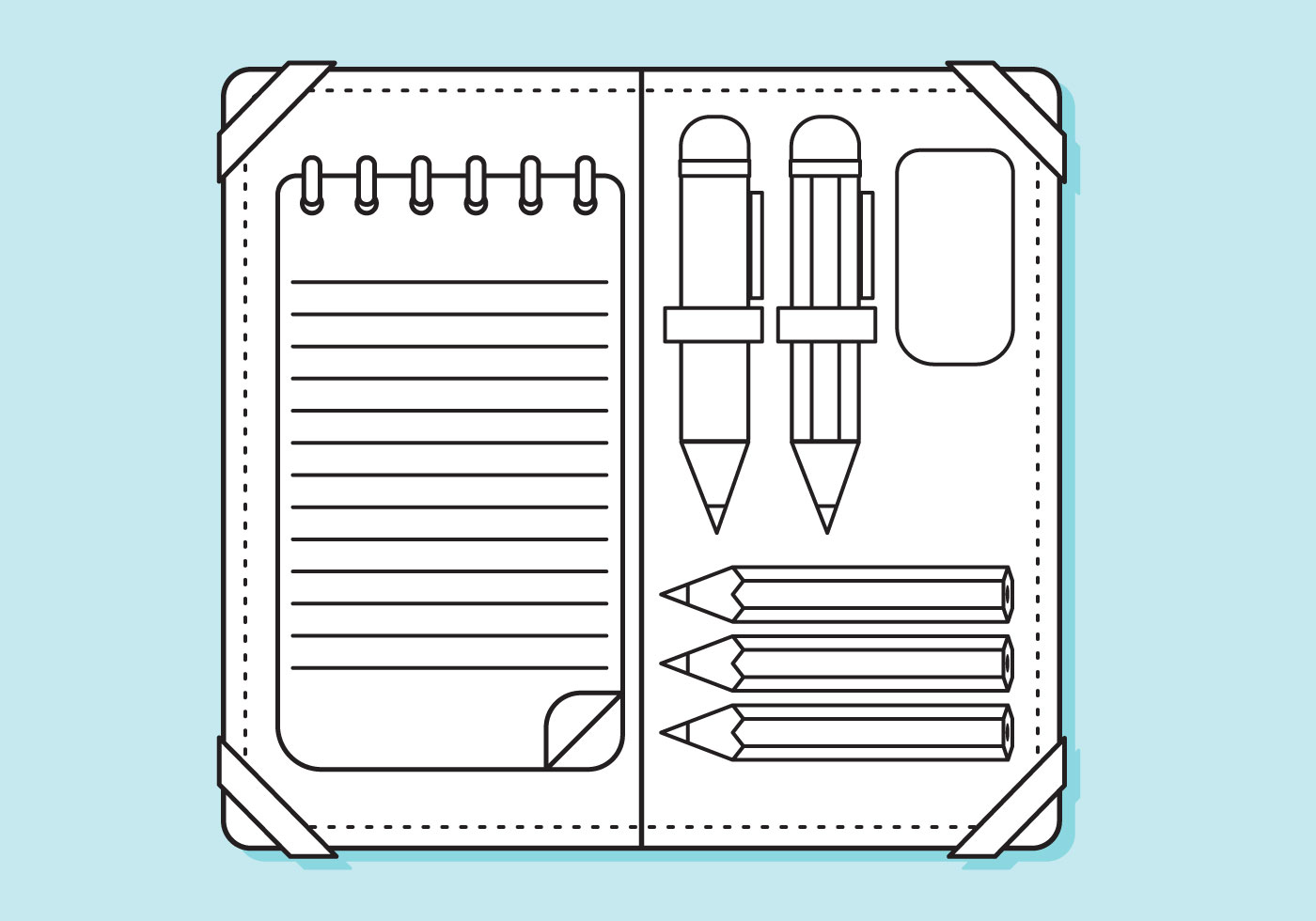 Flat Pencil Case Lines Coloring Page Download Free