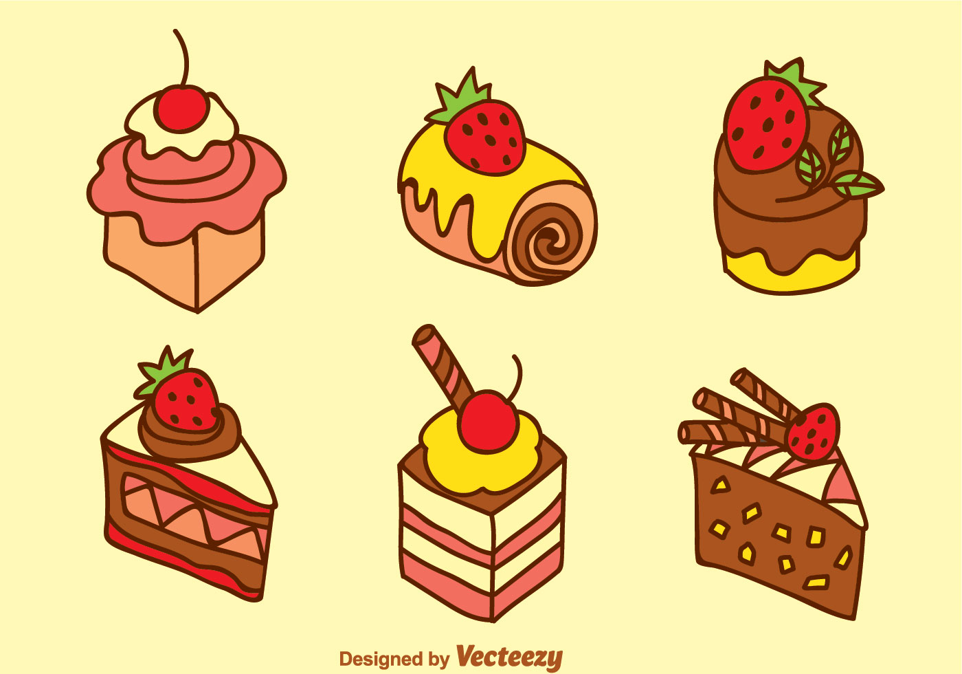 Cake Pictures Vector : Sweet Cake Vector Set - Download Free Vector Art, Stock ...