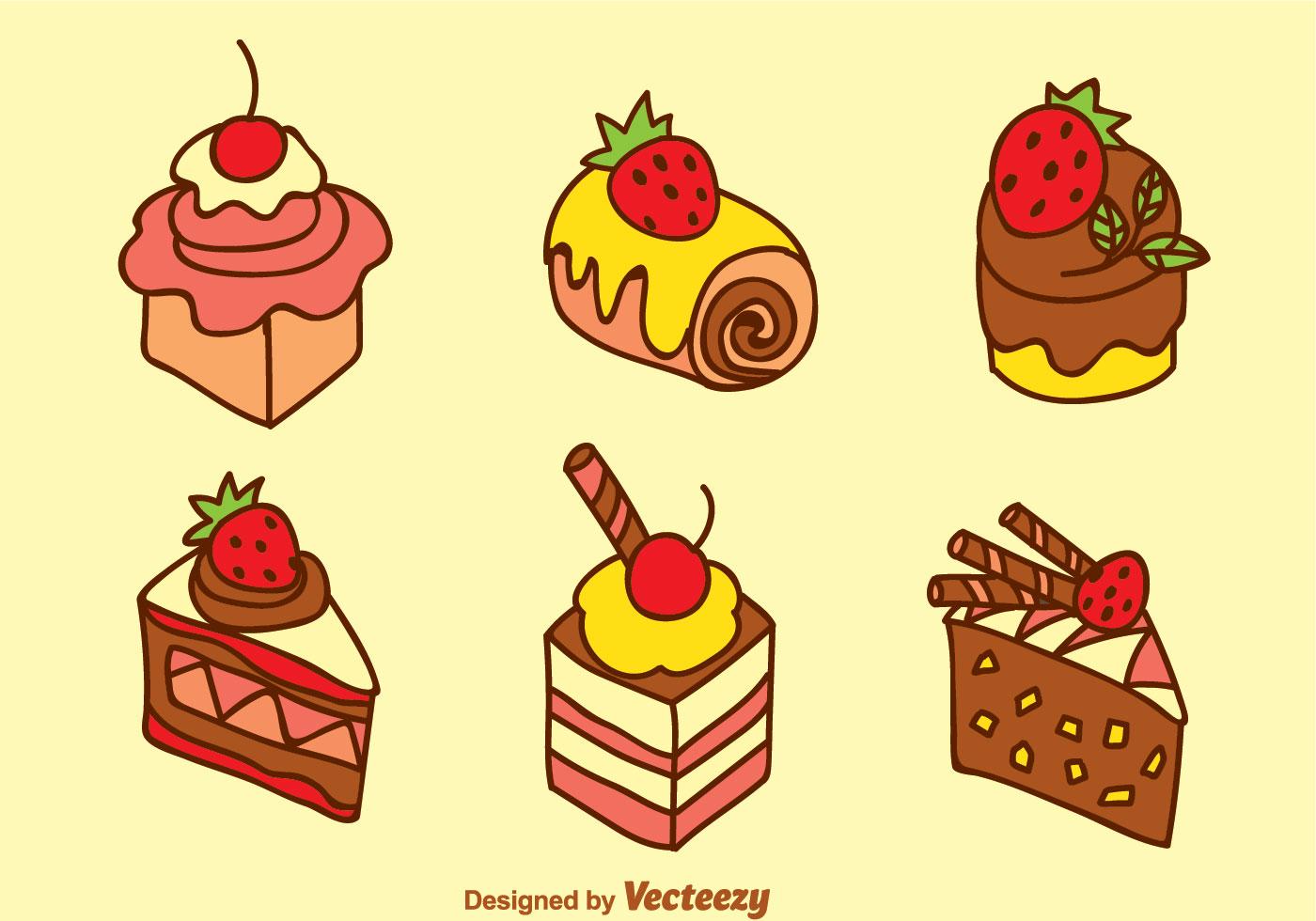 Cake Line Art Vector Free Download : Sweet Cake Vector Set - Download Free Vector Art, Stock ...