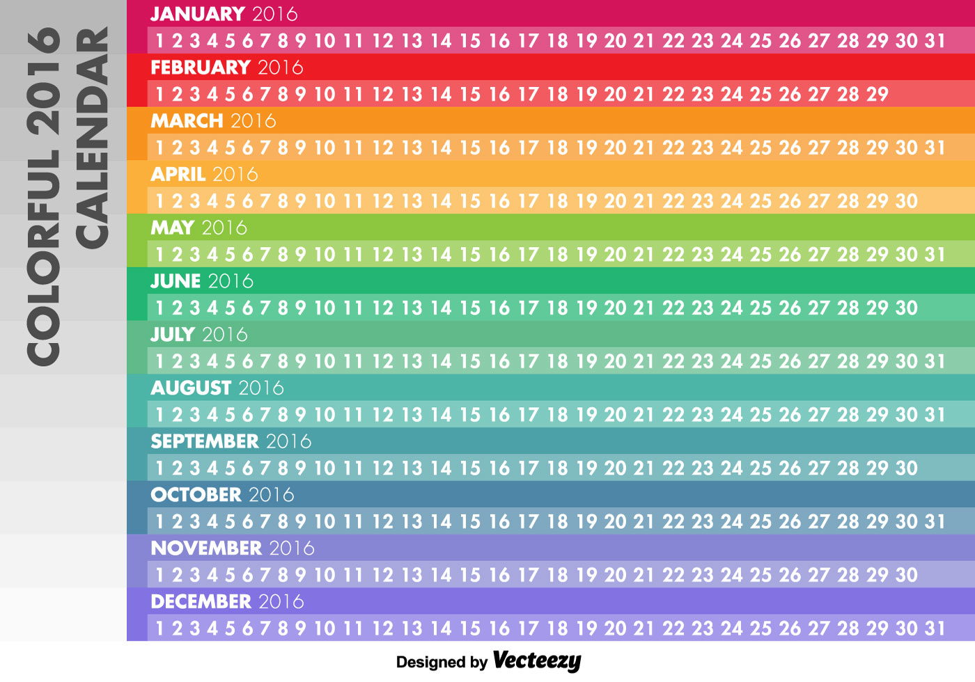 2016 Linear Calendar - Download Free Vector Art, Stock ...