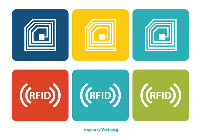 Colorful RFID Icon Set