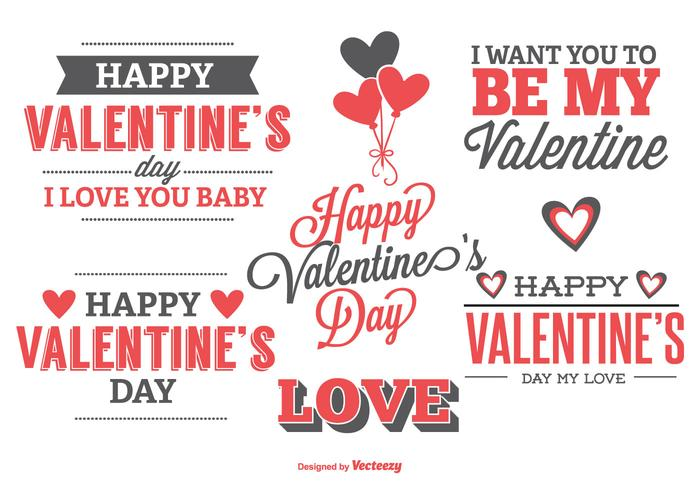 Cute Typographic Valentine's Day Labels