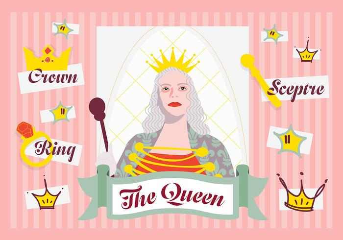 Free Minimal Queen Character Vector Background with Various Elements