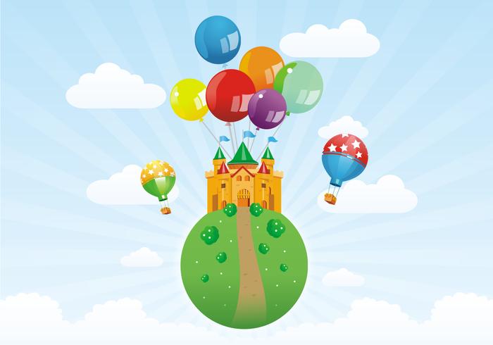 Castle & Balloons Free Vector