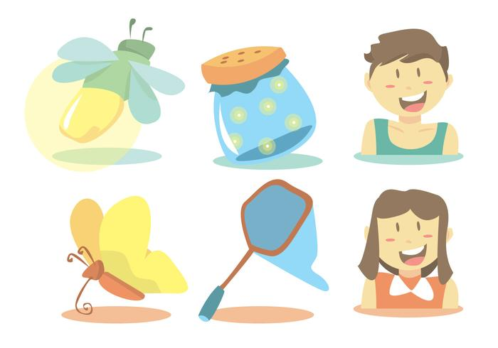 Summer Catching Firefly Vector Set