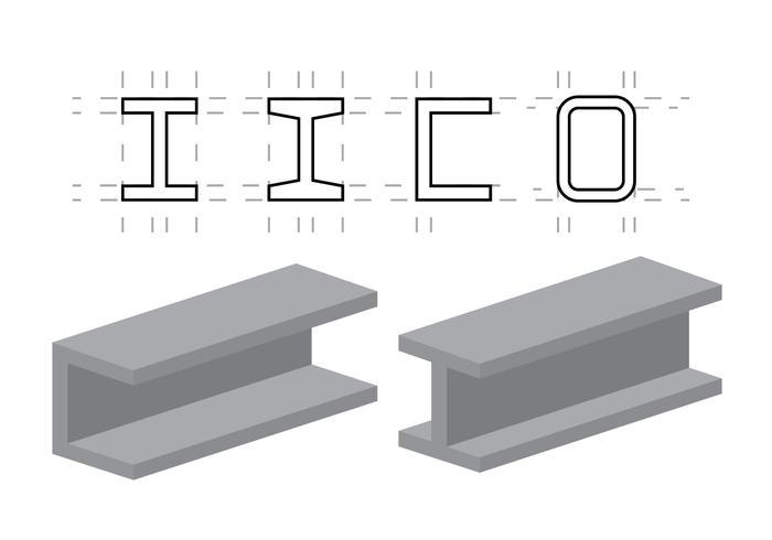Ilustraciones vectoriales de vigas de acero vector