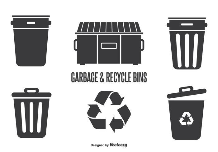 Lixo e recipientes de reciclagem