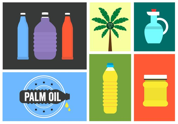 Vector Set of Palm Oil Icons