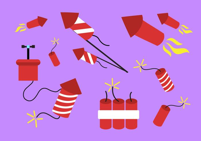 Collection of Different Fire Crackers in Vector