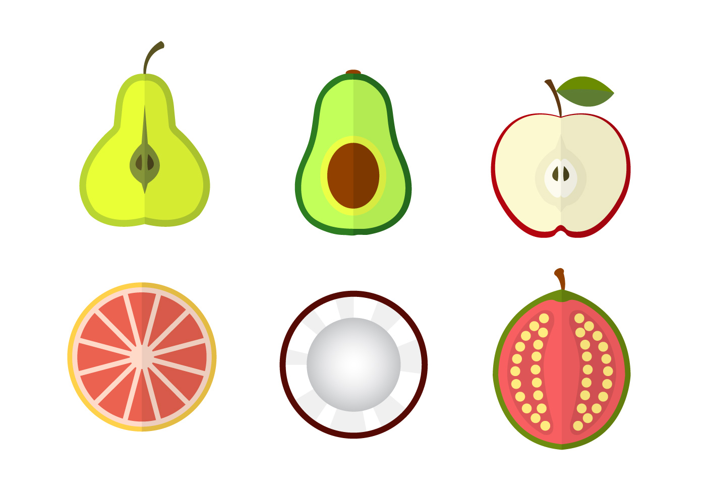 Vector graphics of happy fruits