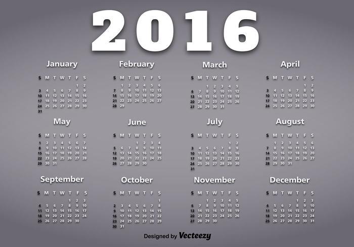 Calendario dell'anno 2016 vettore