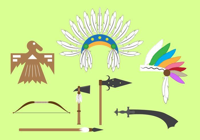 Conjunto de vetores de objetos e elementos indianos