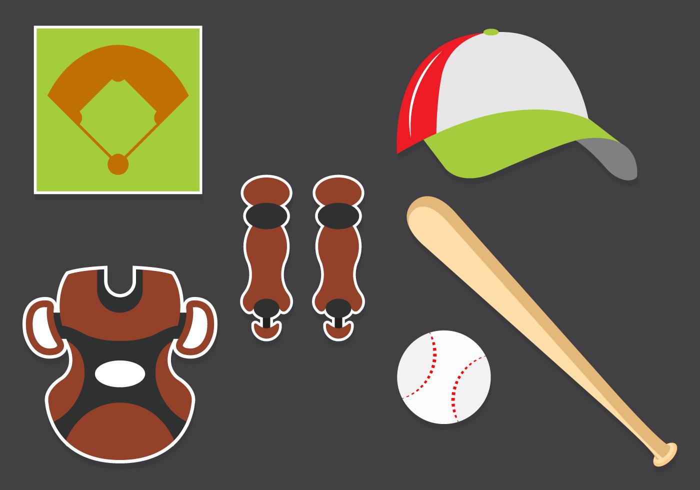 Vector Set Of Baseball Symbols Download Free Vector Art