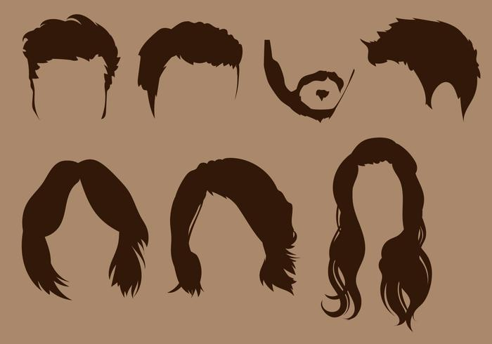 Coiffure Silhouette Vector Set