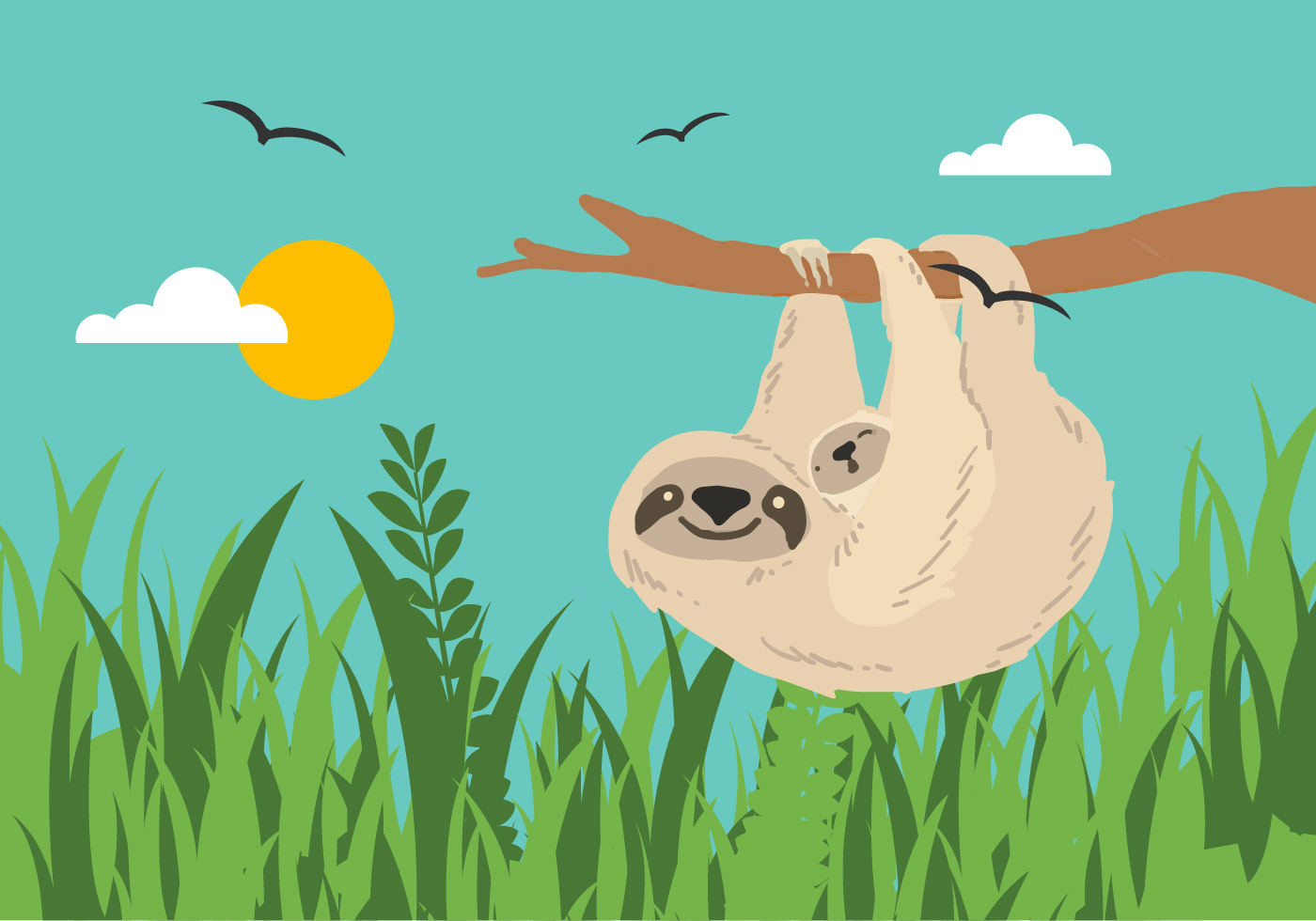 Sloth Vector Download Free Vector Art Stock Graphics