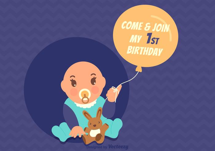 Free Vector 1st Birthday Invitation Card