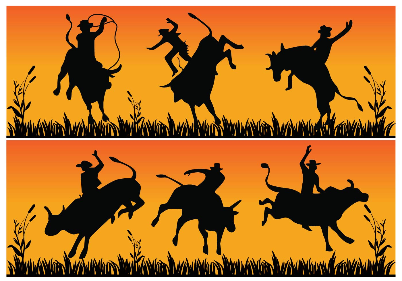 Bull riding silhouette - Download Free Vector Art, Stock ...