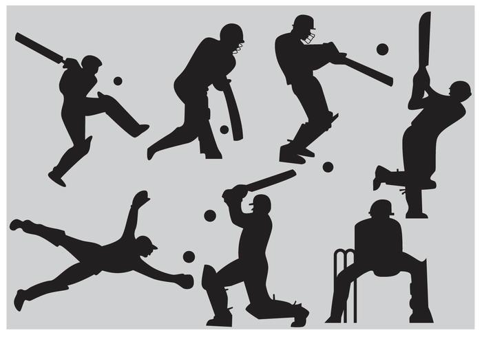 Cricket Player Silhouette Vectors