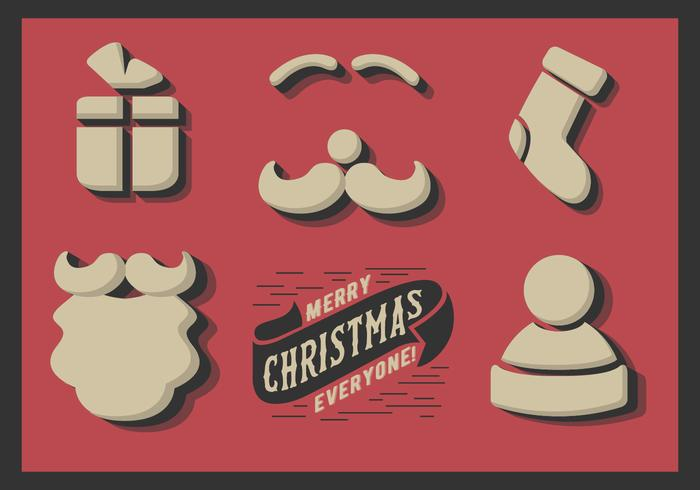 Free Cute Minimal Christmas Elements Vector