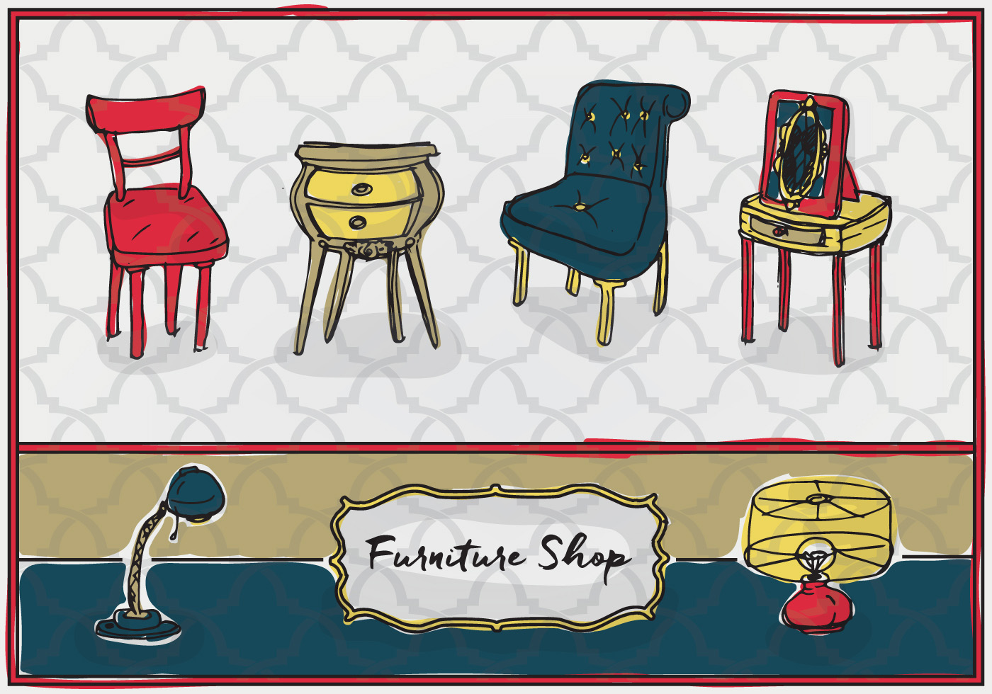 Free Hand Drawn Furniture Vector Background Download
