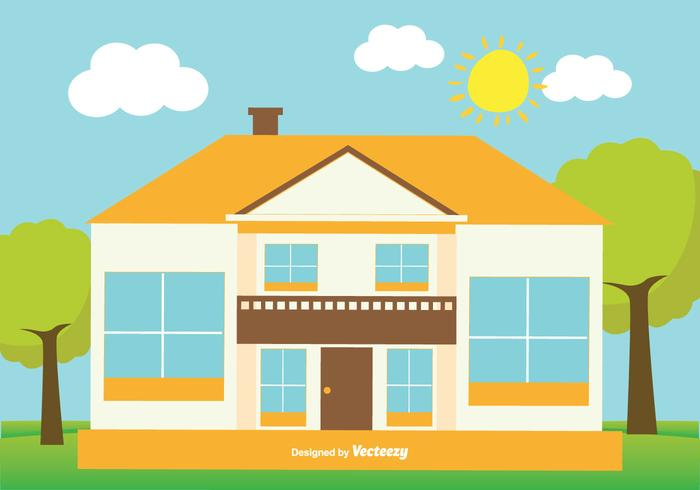 Cute Flat Style House Illustration