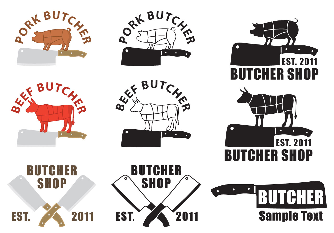 butcher and cleaver logos download free vector art