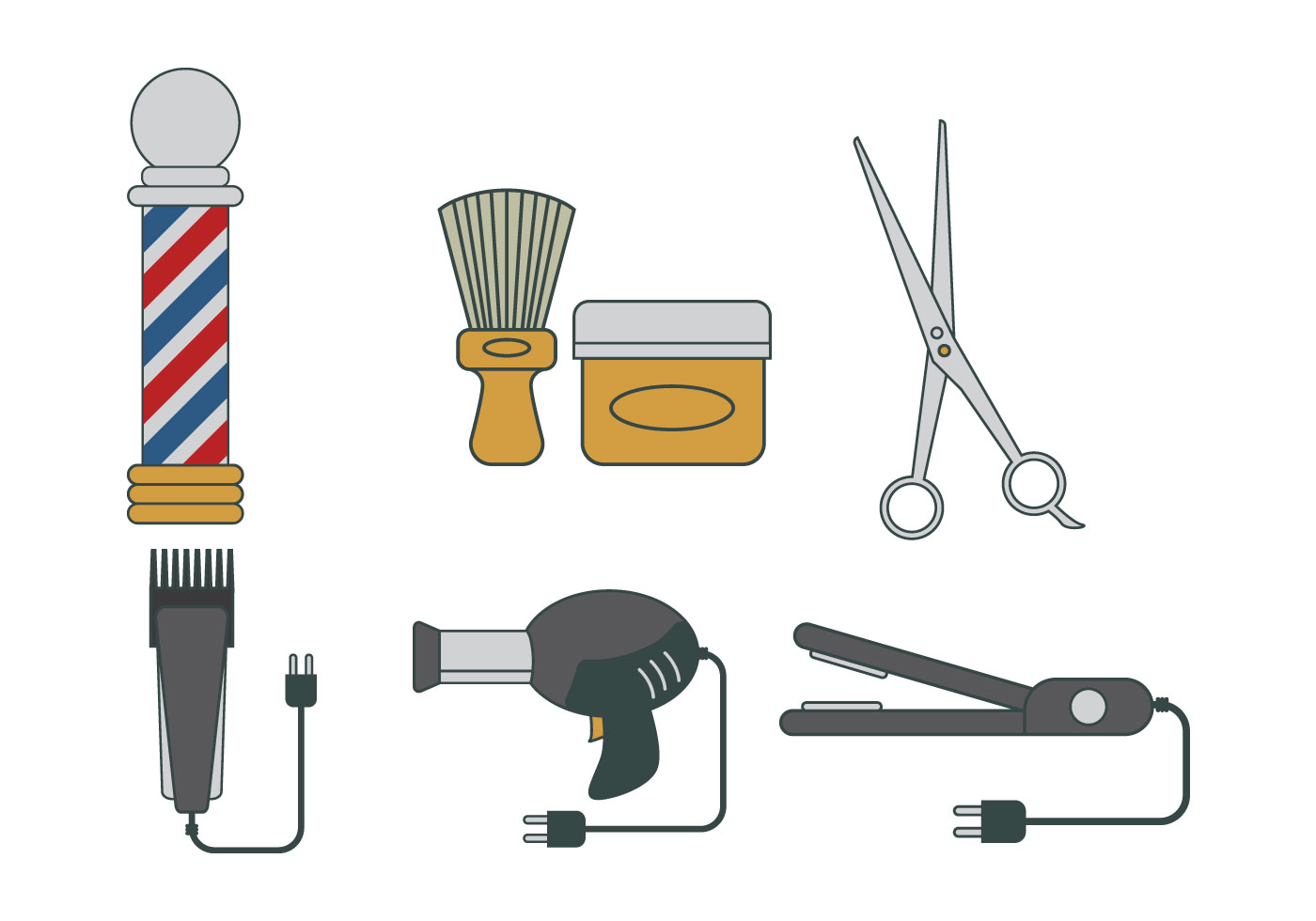 Barber Tools Vector Download Free Vector Art Stock
