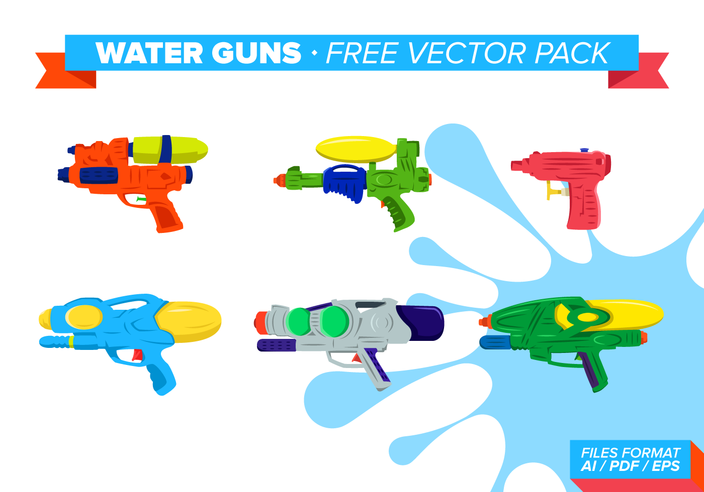 Water Guns Free Vector Pack Download Free Vector Art