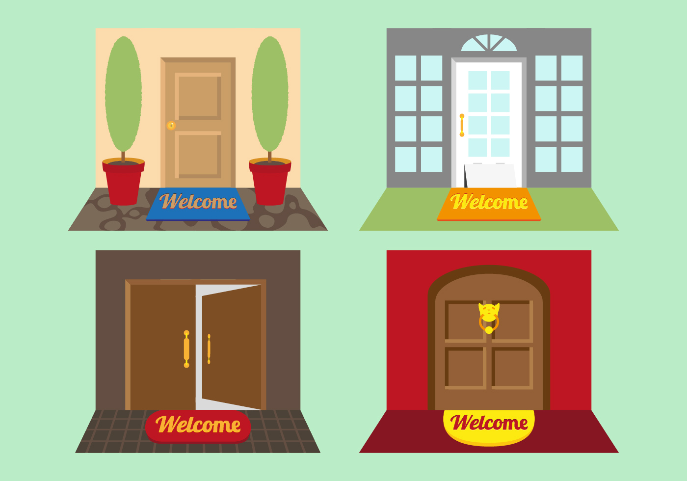 Welcome Mat Illustrations Vector Download Free Vector