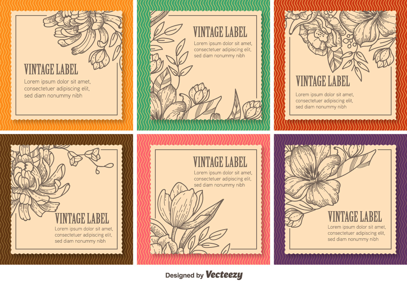 Floral Vintage Labels - Download Free Vectors, Clipart ...