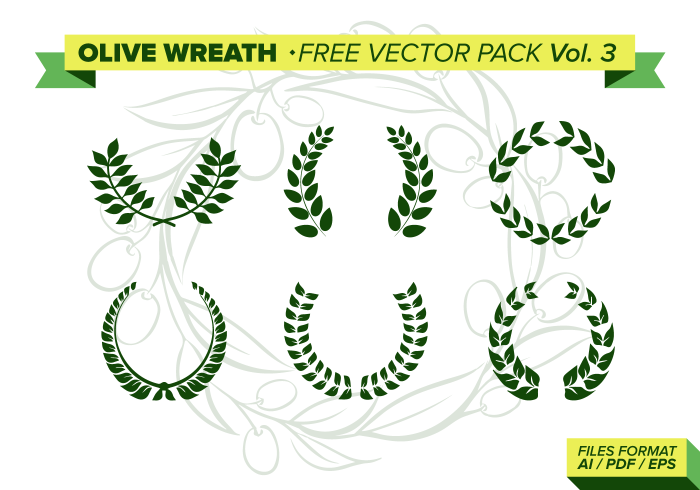 Olive Wreath Vector Pack Vol. 3