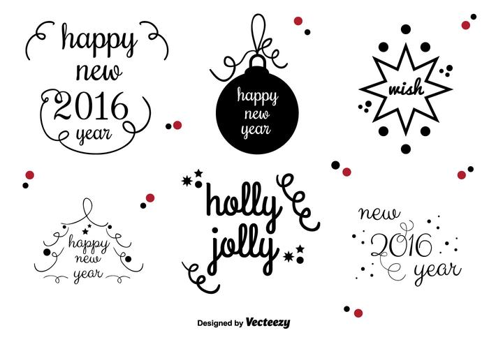 New Year's vector labels
