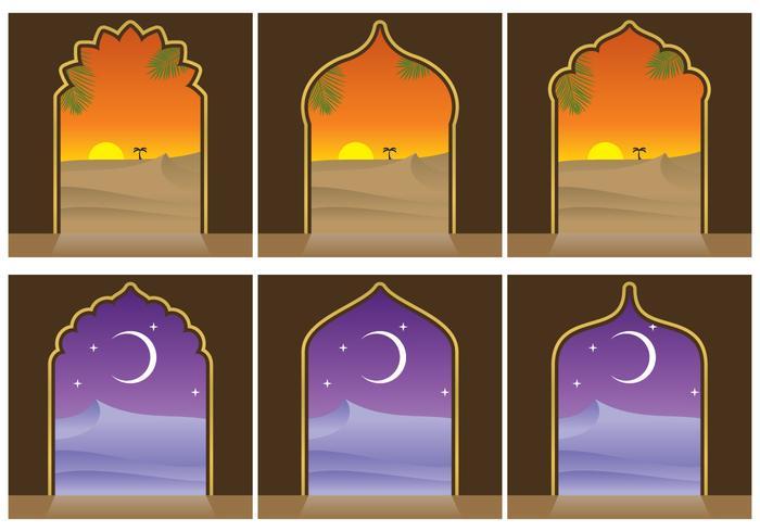Arabian Landscapes And Door Vectors