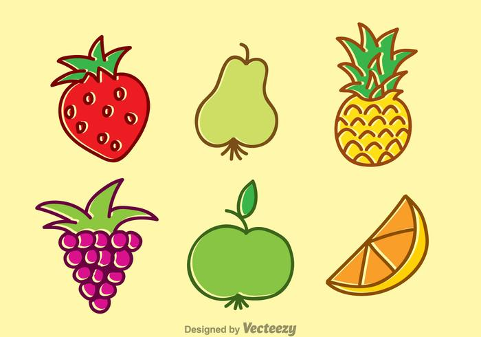 Ensemble de dessins animés de fruits tropicaux