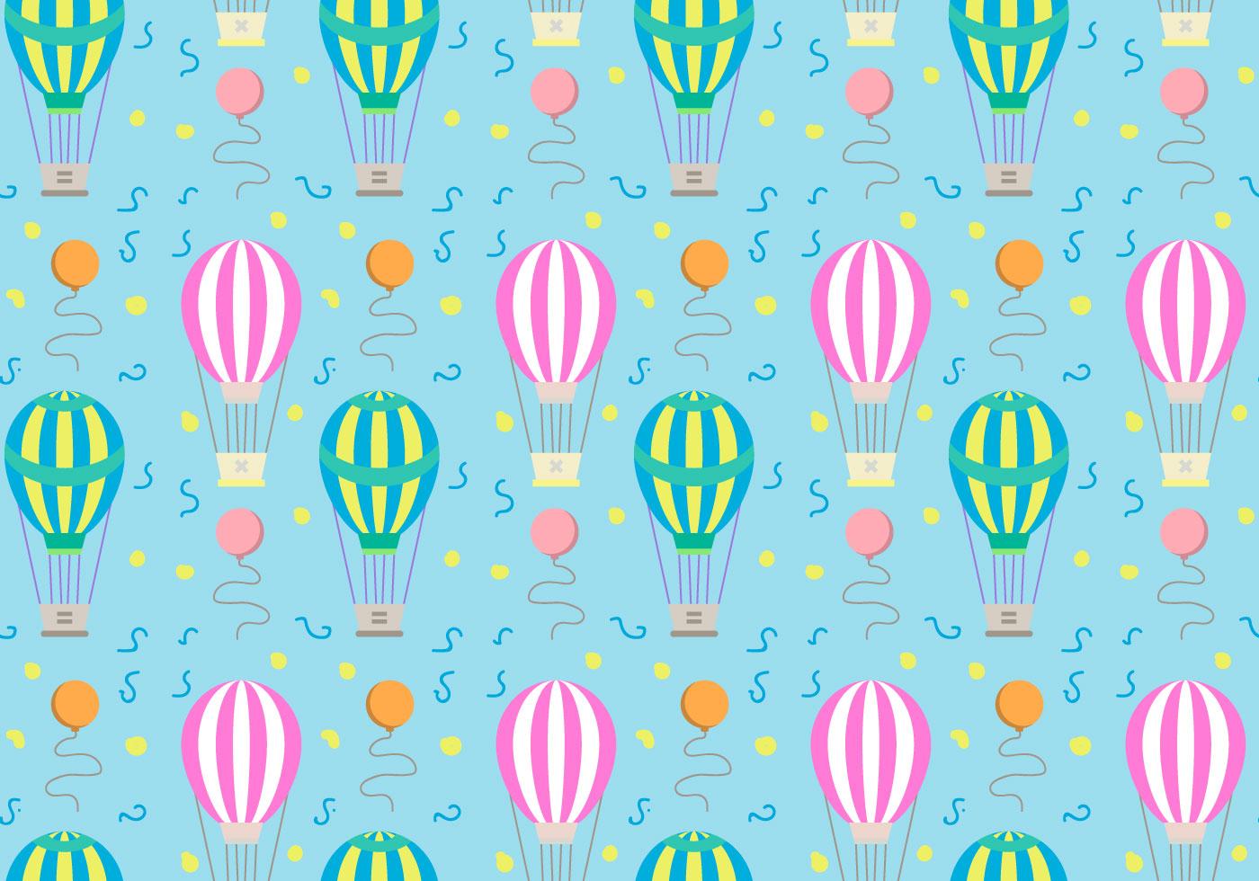 Hot Air Balloons Pattern Vector - Download Free Vectors ...