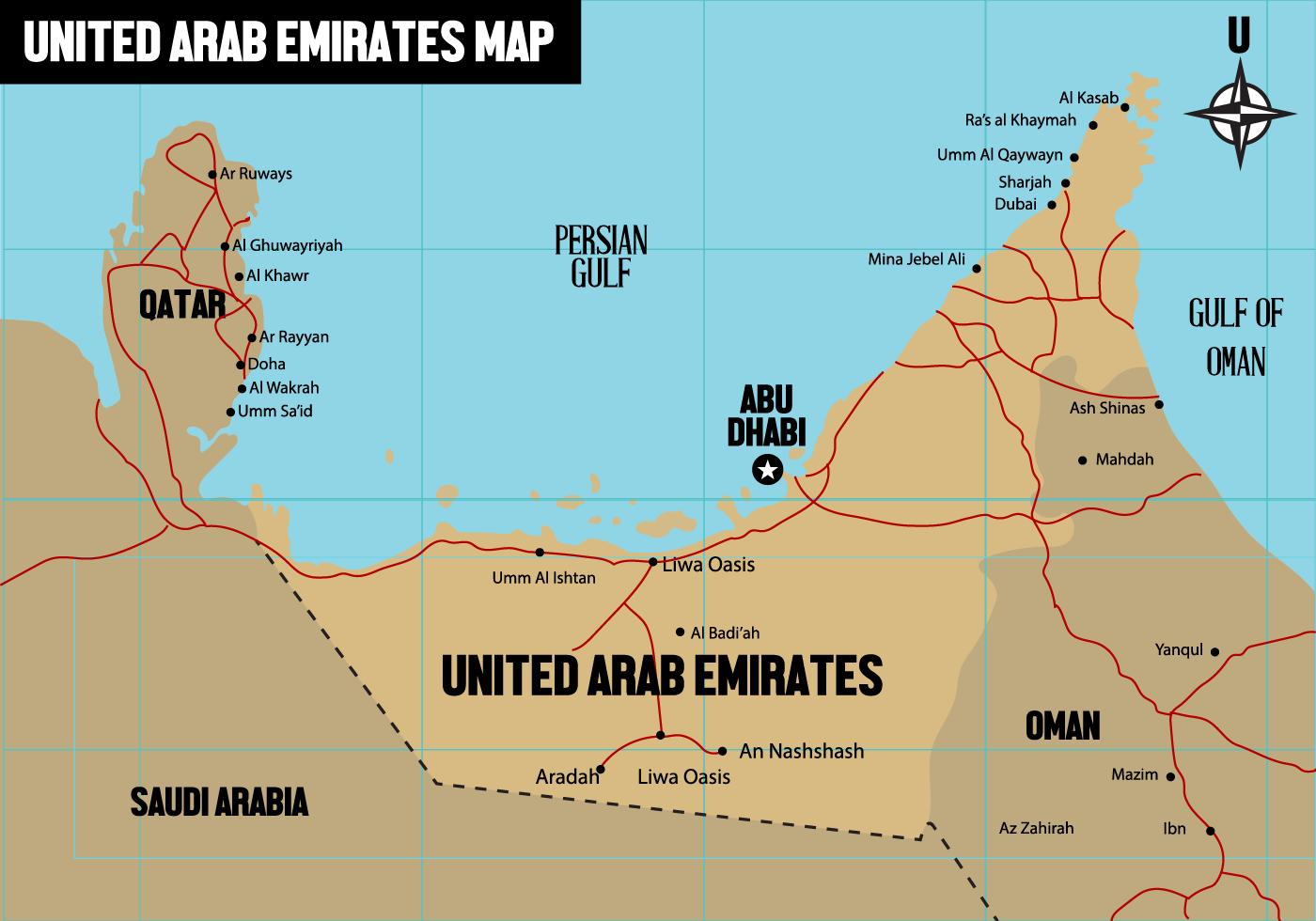 United Arab Emirates Vector 3D Map Download Free Vector Art – Map of Dubai United Arab Emirates