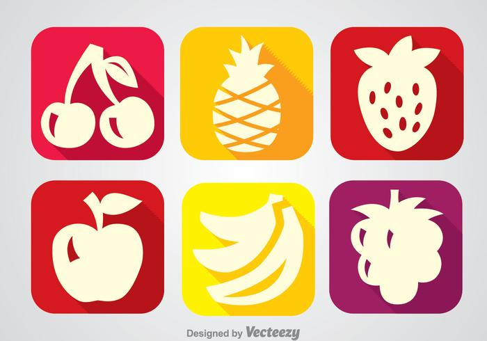Fruits Long Shadow Icon Vectors