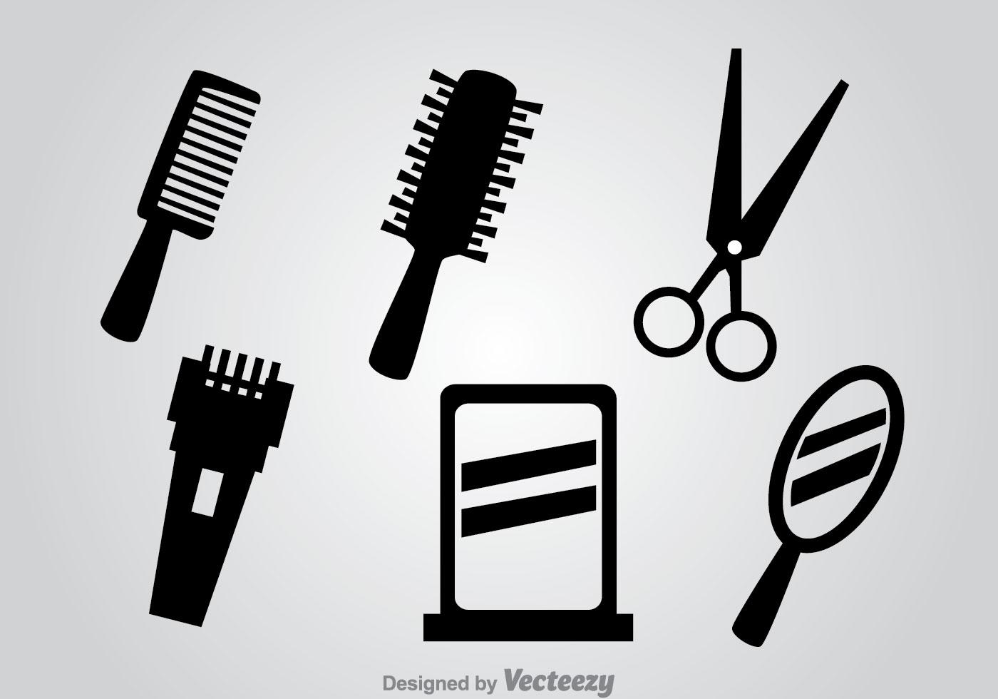 Barber Tools Black Vector Icons Download Free Vectors